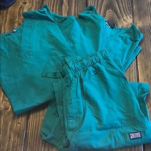 3 Green Large scrub tops and 1 Med pant